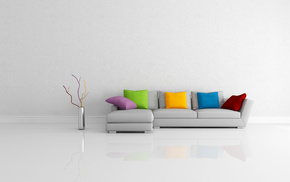 reflection, couch, vase, pillows