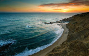 coast, sky, rocks, waves, sea