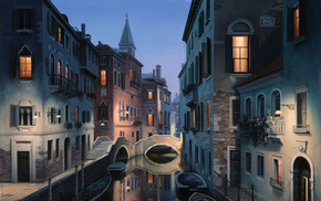 venice, italy, Night dreams, евгений лушпин, города, painting