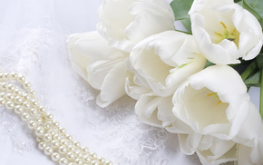 tulips, flowers, bead, bouquet, lace