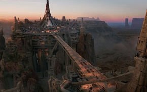 bridge, fantasy, rocks, canyon, city