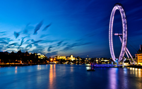 uk, river, england, london, London eye, города