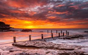 природа, небо, пирс, закат, камни, море