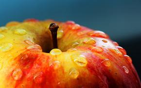 вкусно, капли, макро, яблоко