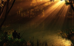 nature, 3D, river