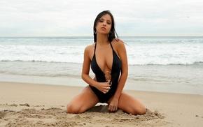 beach, girls, black, brunette, swimwear