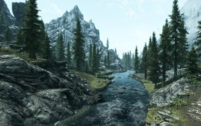 the elder scrolls v skyrim, trees, river, landscape, mountain