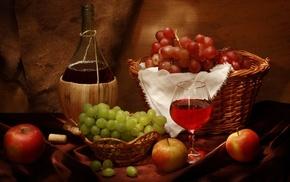 bottle, delicious, grapes, wine, wineglass