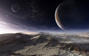 sky, surface, mountain, space, planets