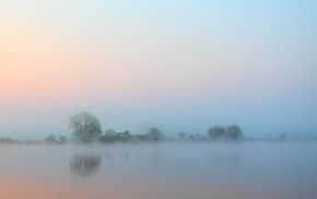 деревья, туман, Утро, небо, природа, вода