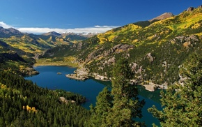 mountain, forest, lake, landscape, nature