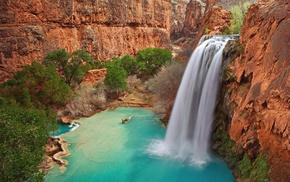 природа, река, деревья, водопад, лето, скалы