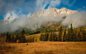 облака, осень, природа, туман, горы