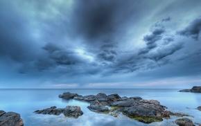 stones, sea, sky, evening, beach