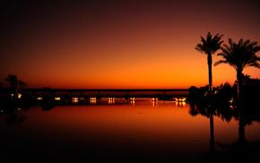 orange, cities, Dubai, evening, city