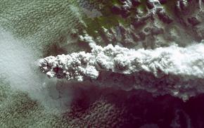 горы, космос, рельеф, вулкан, Снимок, дым