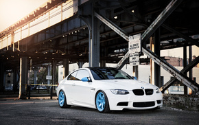 cars, white, BMW, city, bridge