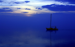 boat, sea, nature, landscape, night