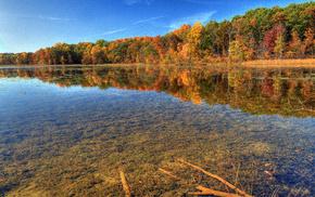 autumn, nature, river