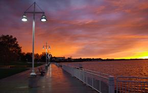 sky, evening, embankment, clouds, sunset