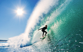 surfing, sports, Sun, sky, wave