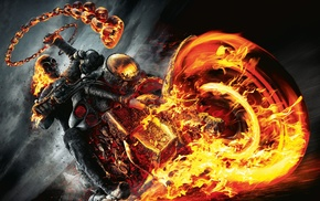 motorcycle, fire, movies, skull