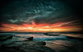 nature, sky, waves, sea, rocks