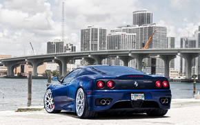 Ferrari, cars, city, bridge, blue