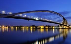 bridge, cities, light, lights