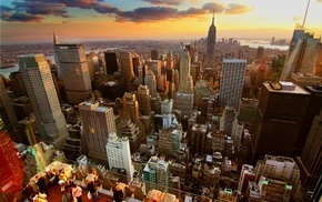 city, sunset, cities, New York City, skyscrapers