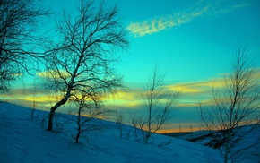 landscape, azure, sky, snow, winter