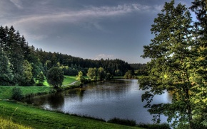 forests, landscape, nature, Germany, river