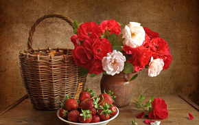 still life, roses, strawberry, vase, flowers