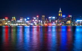 cities, lights, China, sea, night