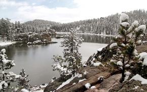 снег, зима, озеро, пейзаж, горы