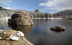 nature, landscape, lake, stones