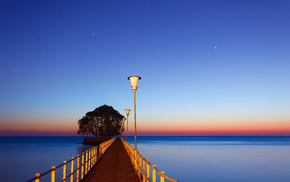 stars, ocean, dawn, nature, pier