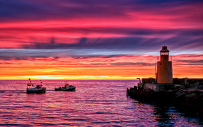 nature, evening, ocean, lighthouse, coast