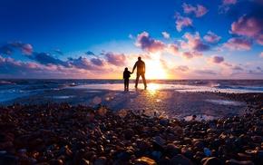 beach, sea, sunset, light, stones