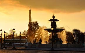 фонтан, Paris, вода, струи, франция, фонари