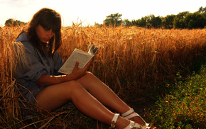 nature, book, haired, field, girls