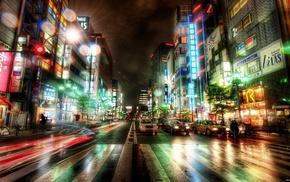 houses, rain, cities, city, lights