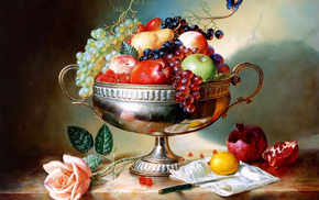fruits, grapes, vase, delicious, apples