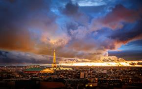 houses, Paris, cities, France, horizon
