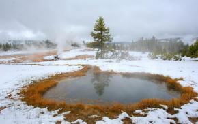 snow, nature, landscape, winter, autumn