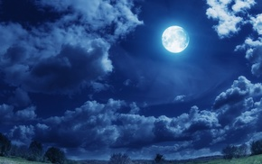 деревья, сияние, облака, природа, поле, луна