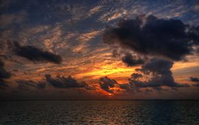 закат, облака, солнце, море, небо, природа