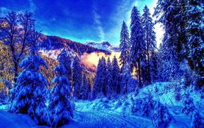 пейзаж, горы, зима, лес