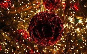 ball, lights, fir-tree, winter, balloons
