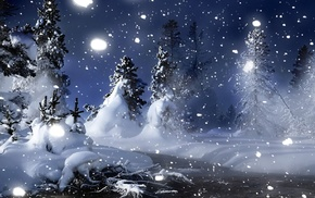night, snow, winter, Christmas tree, river